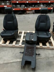 12 14 Yukon Denali Front 2nd 3rd Row Black Leather Seats Console