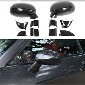 Side Rearview Mirrors Shell Trim Cover For Dodge Challenger 2009 20 Carbon Fiber