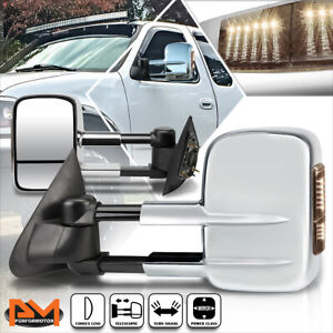 For 97 04 Ford F150 97 99 F250 Power Adjust Towing Mirror W Smoked Led Lamp Pair