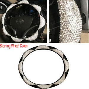 Diamond Leather Steering Wheel Cover With Bling Crystal Rhinestones Durable
