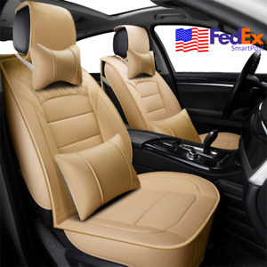Creamy Beige Pu Leather Car Seat Cover Full Set 5 Seats Protector Pads For Bmw