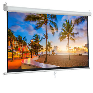 Manual Pull Down Projector Projection Screen Home Theater Movie 100 Inch 16 9