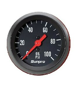 Sunpro 2 Mechanical Oil Pressure Gauge 0 100 Psi Black Black Bezel New Cp8216