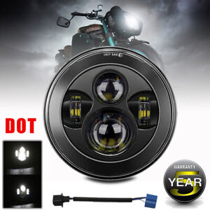 Led Headlight For Harley Motorcycle 7 Inch Round Motorcycle Driving Light Lamp