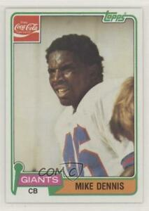 1981 Topps Coca-Cola New York Giants Mike Dennis #2 Rookie