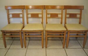 4 Antique Louis Rastetter Solid Kumfort Wood Folding Chairs Xclnt Vintage 575