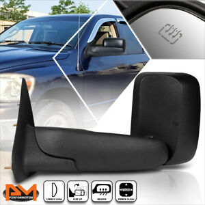 For 02 09 Dodge Ram 1500 2500 3500 Powered heated Black Side Towing Mirror Left