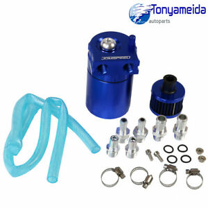 Oil Catch Reservoir Breather Can Tank Blue Filter Kit Cylinder Aluminum Engine