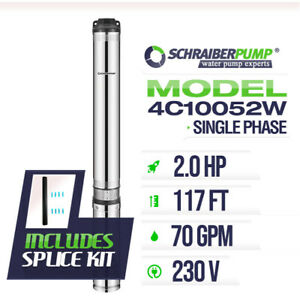 Schraiberpump 4 Deep Well Submersible Pump 2hp 230v 117ft 70gpm 63maxpsi 2wire