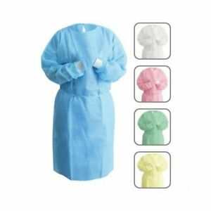 50pk Disposable Isolation Gown Blue With Knit Cuff Dental medical