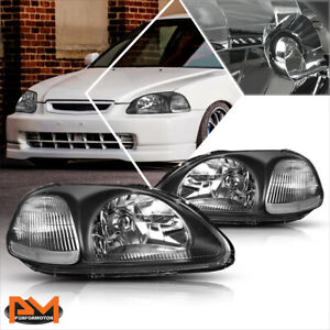 For 96 98 Honda Civic Ej Em Ek Black Housing Headlight Clear Corner Signal Lamp