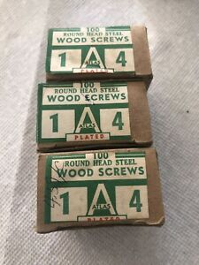 Lot Of 300 4 X 1 Round Head Plated Steel Wood Screws Slotted Atlas Usa Made