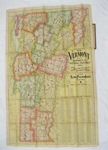 1880s National Publishing Company Vermont Map Folding Old Vtg Linen Backed Wall