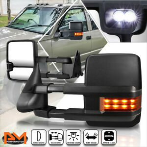 For 88 02 Chevy Gmc C K Truck Power Black Towing Mirror W Led Signal Lamp Pair