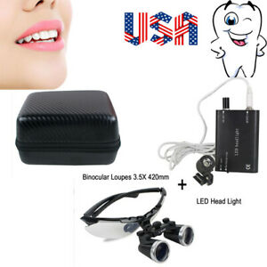 2 5x420mm Dental Surgical Medical Binocular Loupes led Head Lamp carry Case