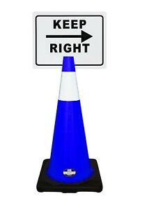 Rk safety 28 Blue Cone Black Base With One 6 Reflective Tape Plus Cone Sign