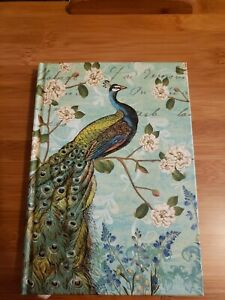 Notebook journal Book Bound blue Peacock 6 X 8 Ruled Pages Embossed New