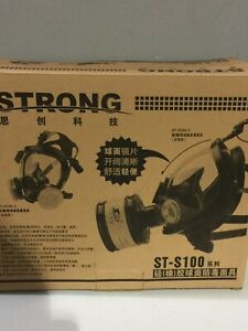 Strong St s100 3 Gas Mask Respirator Dual Filter Full Face Mask never Used