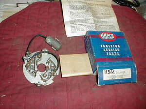 Nos 1933 54 Dual Point Distributor Breaker Plate 6 Cyls Chevy Nash Packard Gmc