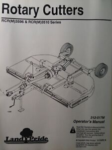 Land Pride Rcrm3596 Rcr3596 Rcrm3510 3 point Pull Rotary Mower Owners Manual