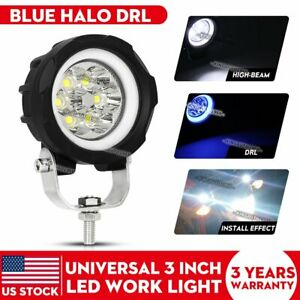 3 Inch Round Led Work Light Fog Driving Drl Blue Halo Pods Suv Atv Truck