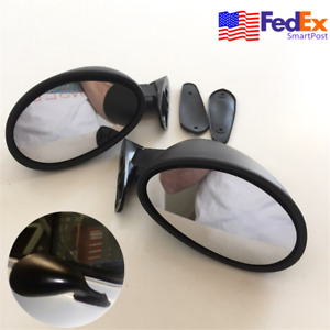 2x Universal Vintage Car Door Side View Mirror Hot Rod Rat Matte Black W Gasket