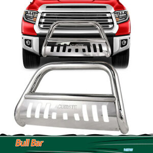 Chrome Bull Bar Brush Push Bumper Grill Grille Guard For 2007 2018 Toyota Tundra