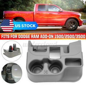 Center Console Cup Holder Gray For Dodge Ram Add on 1500 2500 3500 03 12 Gray