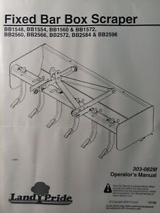 Land Pride 3 point Box Scraper Implement Bb1548 Bb2596 Bb2560 2572 Owners Manual