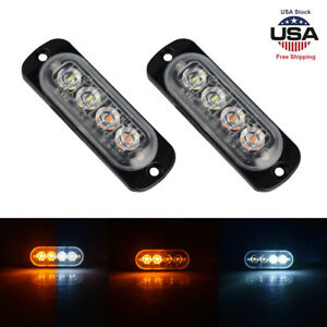 2x Led Strobe Emergency Lamps Surface Mount Flashing Lights For Truck Car Pickup