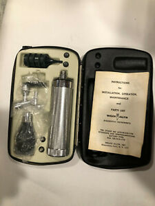Vintage Welch Allyn Diagnostic Set Otoscope Ophthalmoscope In Case