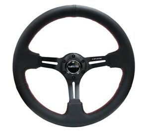 Nrg 350mm Sport Steering Wheel 3 Deep Black Leather With Red Stitching