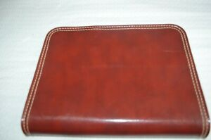 Vtg Full Size Leather Portfolio Notebook 3 ring Binder Organizer Brown 10x14 Vgc