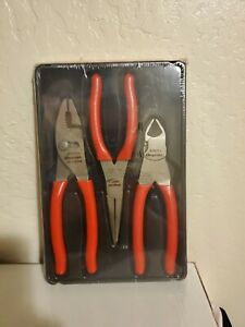 Snap On Tools 3 Piece Pliers Cutters Set Pl300cf New Sealed In Package Red