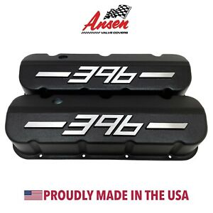 Big Block Chevy 396 Tall Valve Covers Black With Raised Logo Ansen Usa