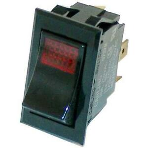 Commercial Spst On off 3 Tab Red Lighted Rocker Switch
