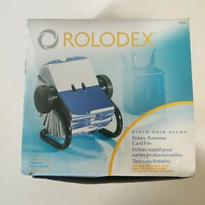 Rotary Business Card File Rolodex 400 Cards 2 5 8 x 4 New Open Box Black