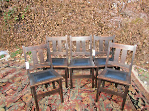 Antique Michigan Chair Company Set Of Five Dining Chairs W5744 Stickley Era