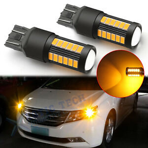 For Honda Accord Civic Fit 1996 2017 7443 3000k Amber Led Turn Signal Light Lamp