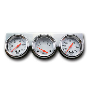 Triple Auto Gauge Three Set 2 5 8 Oil Pressure Volt Water Temperature Chrome