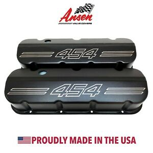 Big Block Chevy 454 Outline Tall Valve Covers Die Cast Aluminum Black Ansen