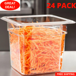 24 Pack 1 6 Size Clear Plastic Steam Prep Table Food Pan 6 Deep Polycarbonate