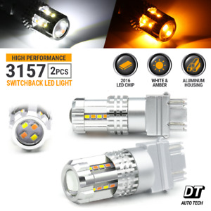 Syneticusa 3157 Led Switchback Turn Signal Drl Parking Light Bulbs White amber
