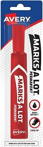 Avery Marks a lot Permanent Marker Chisel Point Red 1 Ea