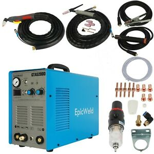 Plasma Cutter 50 A 200 Amp Tig Arc Welder 3 In 1 Includes Foot Pedal Control