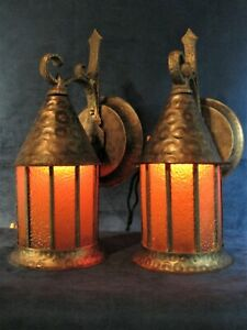 Sconces 2 Porch Or Wall Vintage Mission Arts Crafts Bungalow Hammered Finish