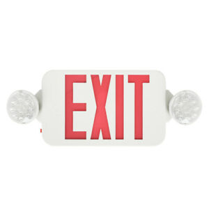 6 Pack Emergency Lights Red Exit Sign W dual Led Lamps Dual Heads Schools Safety