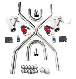Universal 2 5 exhaust System Builder X pipe Tubing Kit W 2 Electric Cutout Valve