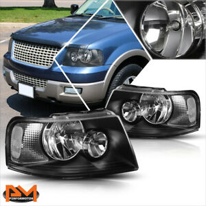 For 03 06 Ford Expedition Black Housing Headlight Clear Side Corner Lamps Pair