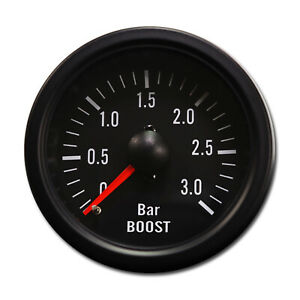 Taiwan Made 52 Mm Black Rim Black Face Mechanical Auto Turbo Boost Gauge 3 Bar